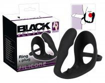 Black Velvet - hullámos análdildó pénisz- és heregyűrűvel (fekete)