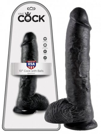 King Cock 10 herés dildó (25 cm) - fekete