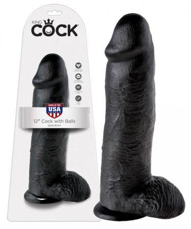 King Cock 12 herés nagy dildó (30 cm) - fekete