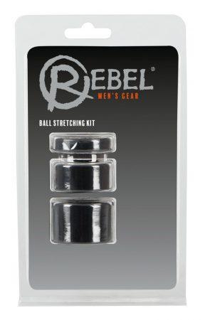Rebel Ball - pénisz-, heregyűrű és nyújtó szett - (fekete)