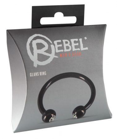 Rebel Glans Ring - strasszos makkgyűrű ékszer (fekete)