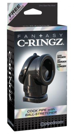 Fantasy Cock Pipe - péniszgyűrű és herenyújtó-gyűrű (fekete)