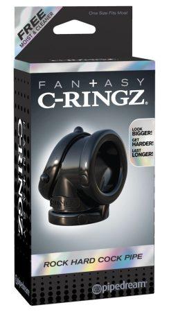 Fantasy Rock Hard - péniszgyűrű és herenyújtó-gyűrű (fekete)