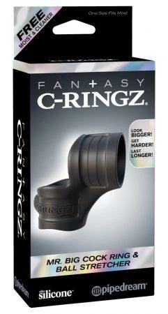 Fantasy Mr. Big - péniszgyűrű és herenyújtó-gyűrű (fekete)