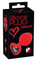 You2Toys Plug Medium - fekete köves, szíves anál dildó (piros) - közepes