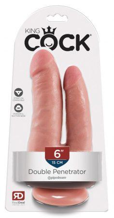 King Cock Double Penetrator - élethű dupla dildó (natúr)
