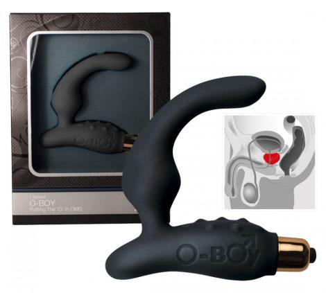 O-Boy keskeny szilikon prosztata vibrátor - fekete (7 ritmusú)