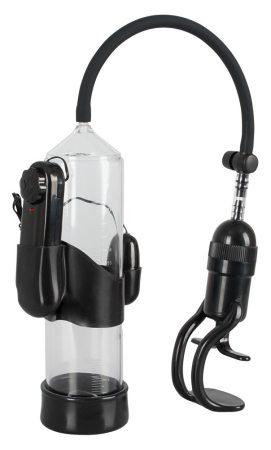 Mister Boner Vibrating - vibrációs péniszpumpa (áttetsző-fekete)