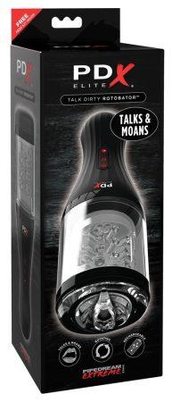 PDX Elite Rotobator - nyögő, forgó műpunci (áttetsző-fekete)