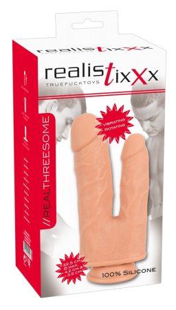 realistixxx Threesome - akkus, tapadótalpas élethű dupla forgó vibrátor (22cm)