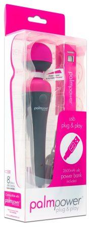 PalmPower Wand - USB-s nagy masszírozó vibrátor powerbankkal (pink-szürke)