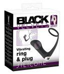 Black Velvet - akkus, szilikon anál vibrátor péniszgyűrűvel (fekete)