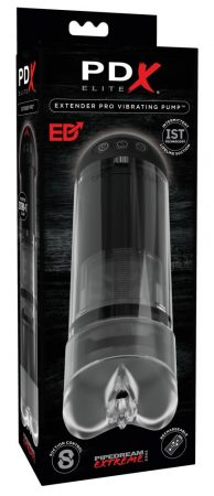 PDX Elite Extender Pro - akkus szívó, fel-le mozgó punci maszturbátor (fekete)