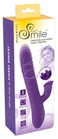 Smile Pearl - akkus, forgó gyöngyös, csiklókaros, lökő vibrátor (lila)