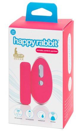 Happyrabbit One Size - akkus, rádiós vibrációs bugyi nyuszifarokkal (pink-fekete)