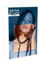 ZADO - valódi bőr szegecses nyakörv pórázzal (fekete)