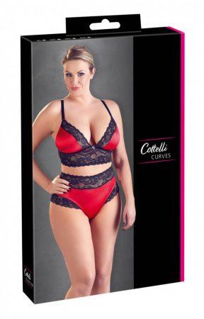 Cottelli Plus Size - virágos csipke-szatén melltartó szett (fekete-piros)