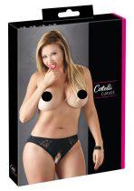 Cottelli Plus Size - csipkés, nyitott alsó (fekete)
