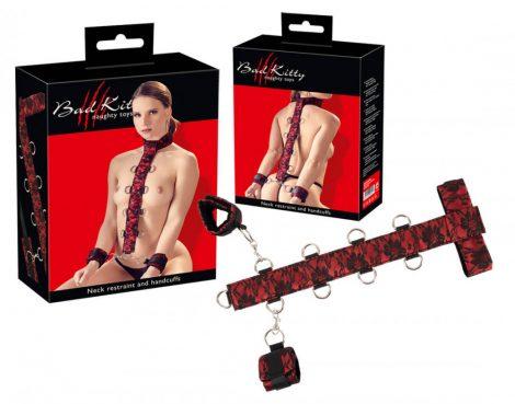 Bad Kitty - ázsia karok a nyakhoz kötöző szett (vörös-fekete)