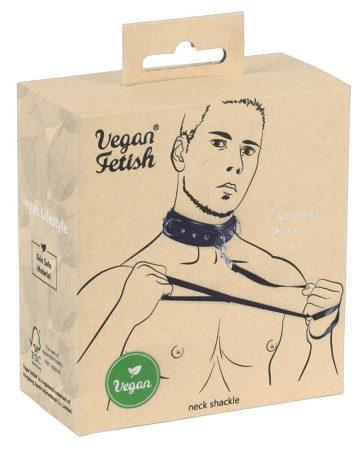 Vegan Fetish - szegecses nyakörv pórázzal (fekete)