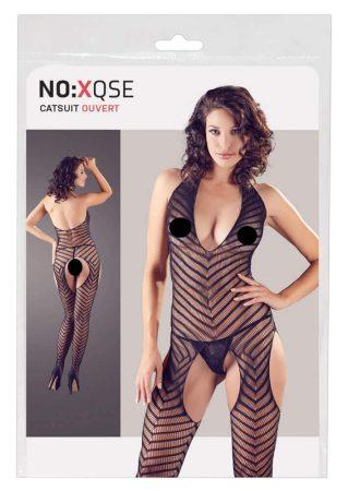 NO:XQSE - nyakpántos, csíkos, nyitott overall tangával (fekete)