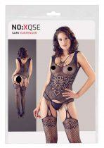 NO:XQSE - absztrakt, ujjatlan fehérnemű szett tangával (fekete)