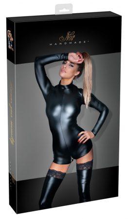 Noir - fényes, hosszúujjú overall short (fekete)