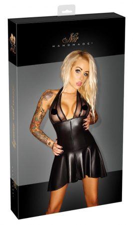Noir - nyakpántos, rakott ruha, áttetsző mellrésszel (fekete)