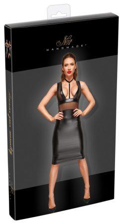 Noir - Necc betétes, fényes ujjatlan ruha (fekete)