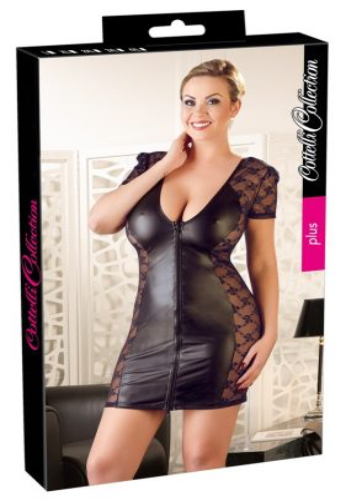 Cottelli Plus Size - masnis, csipkés kombinált ruha (fekete)