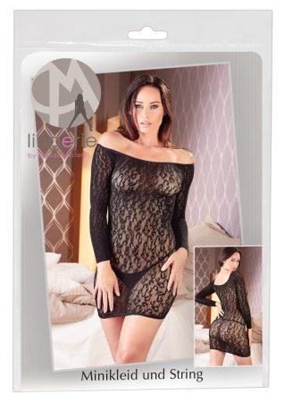 Mandy Mystery - leo mintás, carmen necc ruha (fekete)