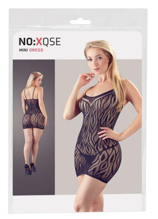 NO:XQSE - tigriscsíkos, áttetsző ruha tangával (fekete)