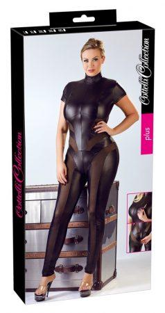 Cottelli Party Plus Size - rövidujjú fényes overall (fekete)