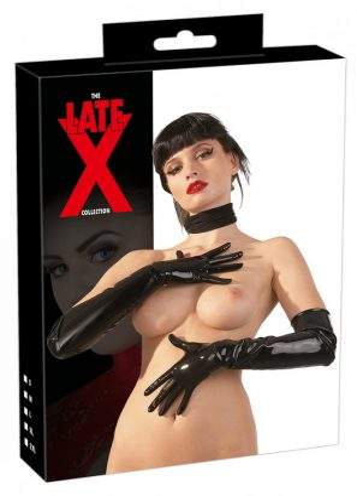 LATEX - hosszú, unisex kesztyű (fekete)