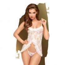 Penthouse Flawless Love - rózsás, rövid babydoll tangával (fehér)