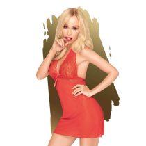 Penthouse Sweet & Spicy - nyakpántos, csipkés ruha tangával (piros)