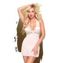 Penthouse Sweet & Spicy - nyakpántos, csipkés ruha tangával (fehér)