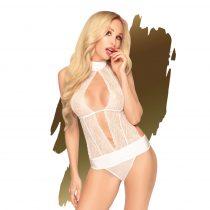 Penthouse Perfect Lover - csipkés, nyakpántos body (fehér)