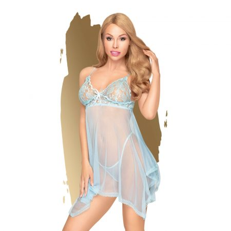 Penthouse Naughty Doll - aszimmetrikus, csipkés ruha tangával (kék)