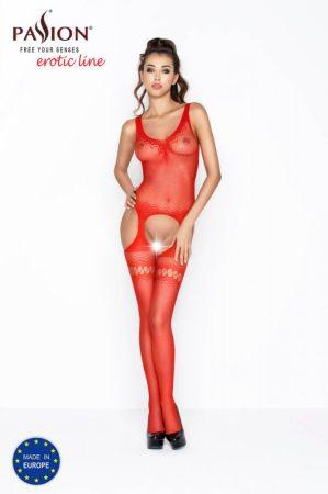 Passion BS038 - cikk-cakk mintás necc szett (piros) - S-L