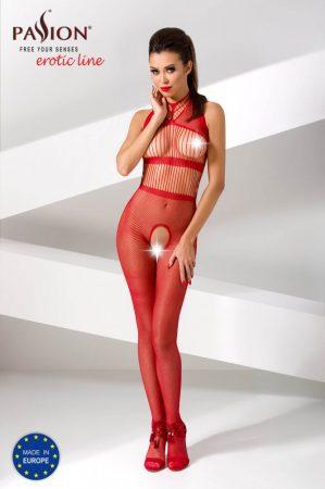 Passion BS048- csíkos, nyakpántos, nyitott necc overall (piros) - S-L