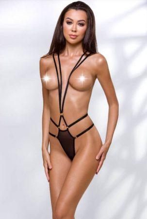 Passion Devil Meggy - pántos, fém gyűrűs body (fekete)