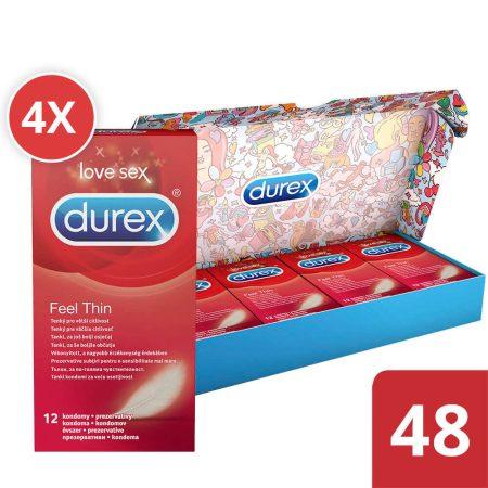 Durex Feel Thin - élethű érzés óvszer csomag (4 x 12db)