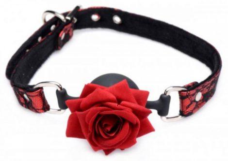 Master Series - rózsás, szilikon szájpecek (piros-fekete)