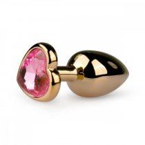 Easytoys Metal No.3 - pink köves szíves kúp anál dildó - arany (2,5cm)
