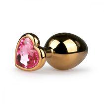 Easytoys Metal No.7 - pink köves szíves kúp anál dildó - arany (3cm)
