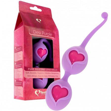 FEELZTOYS Desi - szíves gésagolyó duó (lila-pink)