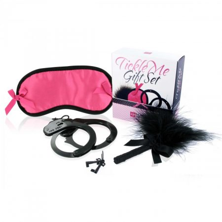 LoversPremium Tickle Me - bilincses szett (pink-fekete) - 3 részes