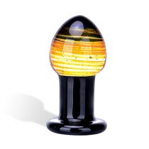 GLAS Galileo - üveg anál dildó (fekete-arany)