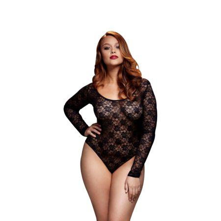 BACI Plus Size - hosszúujjú, csipke body (fekete)